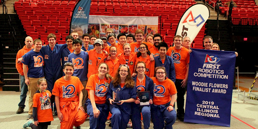Ctrl-Z at Central Illinois Regional in 2019 after we won the Engineering Inspiration Award!